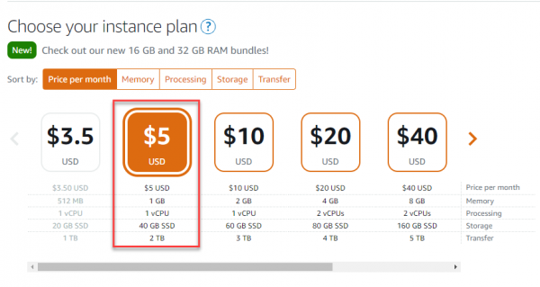 Choose instance plan