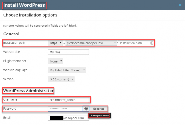 Create WordPress Username and Password