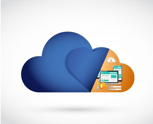 cloud security storage protection illustration design over a white background