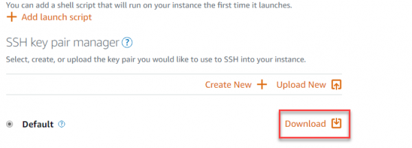 Download SSH key pair