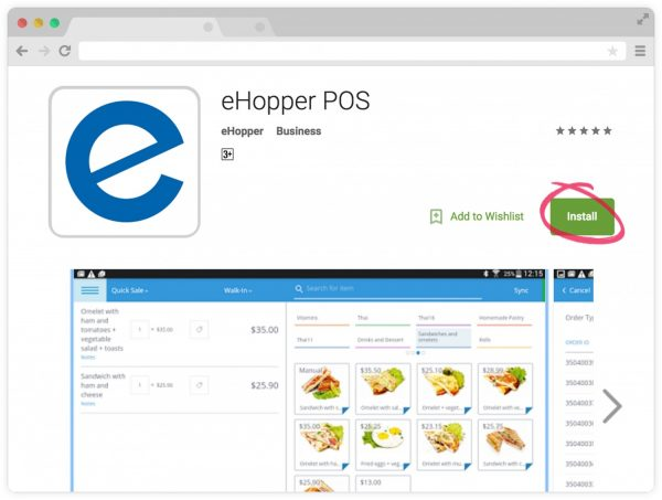 Installing eHopper free POS from Google Play
