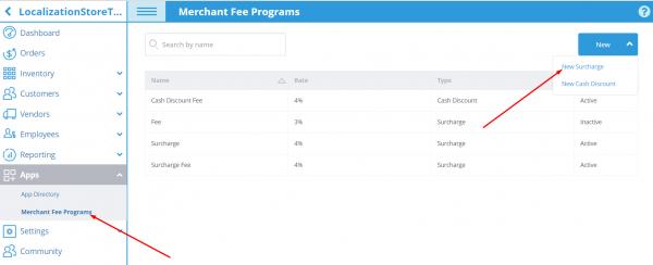 Merchant Fee Programs App Settings
