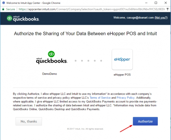 Quickbooks autorize