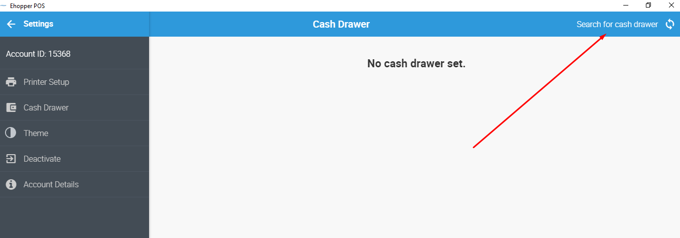 Search for Cash Drawer in eHopper POS App for Windows