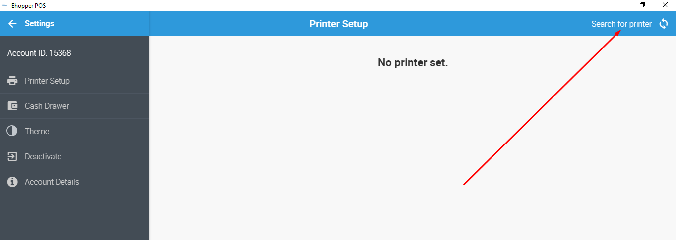Search for Printer in eHopper POS App for Windows