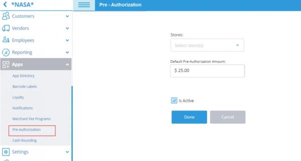 Set Up Default Pre-Authorization Amount