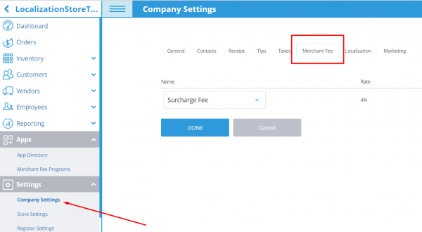 Surcharge Setup in eHopper Company Settings