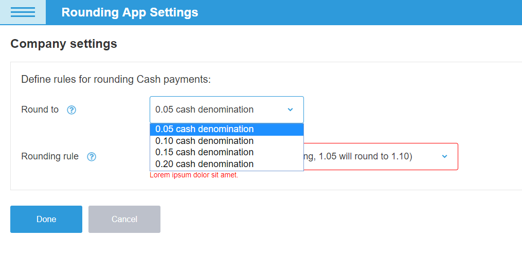 Setting 5 cents rounding in eHopper POS system for Canada