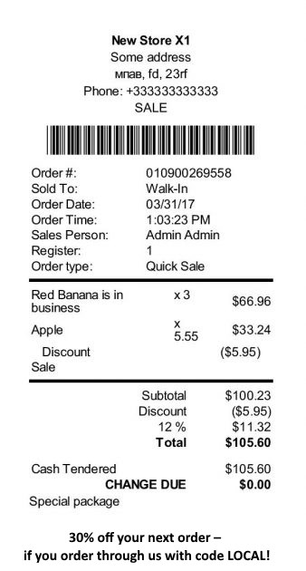 Include a sales promotion on the order receipt